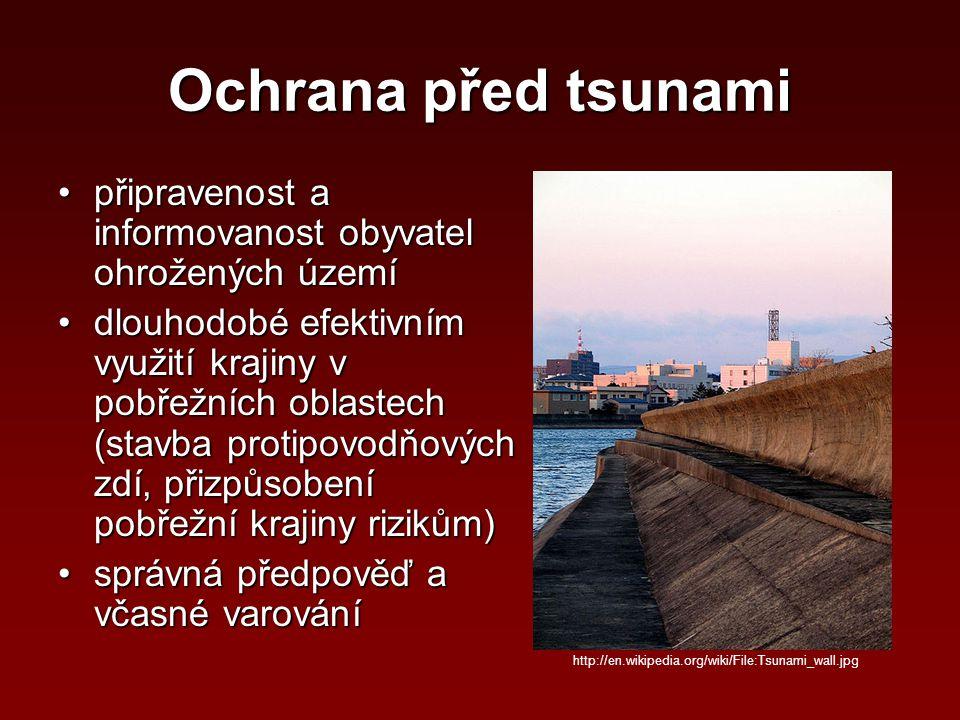 Ochrana před tsunami připravenost a informovanost obyvatel ohrožených územípřipravenost a informovanost obyvatel ohrožených území dlouhodobé efektivní