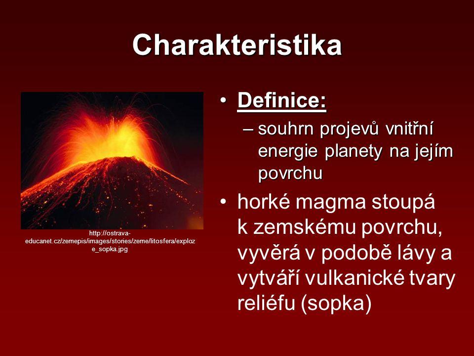 Charakteristika Definice:Definice: –souhrn projevů vnitřní energie planety na jejím povrchu horké magma stoupá k zemskému povrchu, vyvěrá v podobě láv
