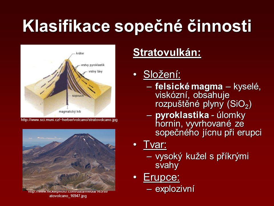 Klasifikace sopečné činnosti Stratovulkán: Složení:Složení: –felsické magma – kyselé, viskózní, obsahuje rozpuštěné plyny (SiO 2 ) –pyroklastika - úlo