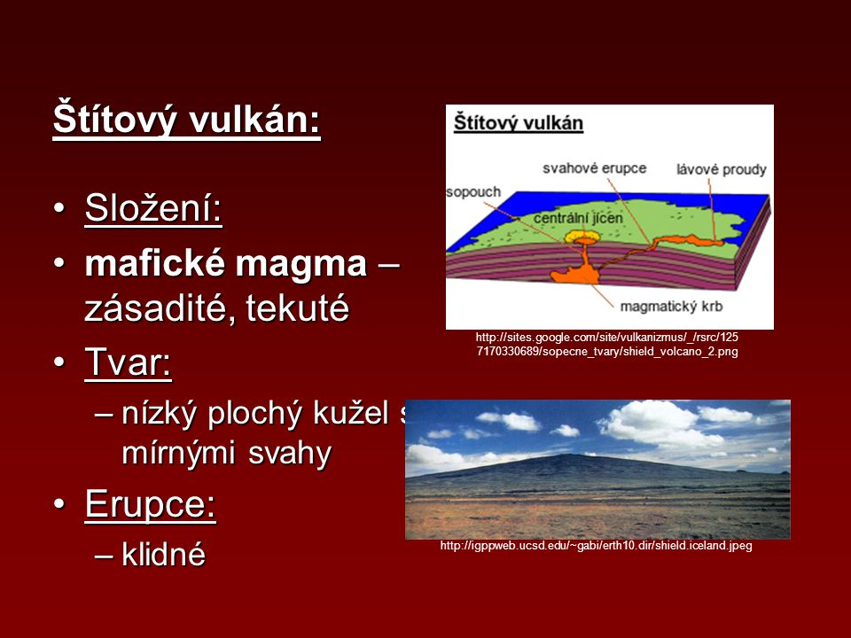 Štítový vulkán: Složení:Složení: mafické magma – zásadité, tekutémafické magma – zásadité, tekuté Tvar:Tvar: –nízký plochý kužel s mírnými svahy Erupc