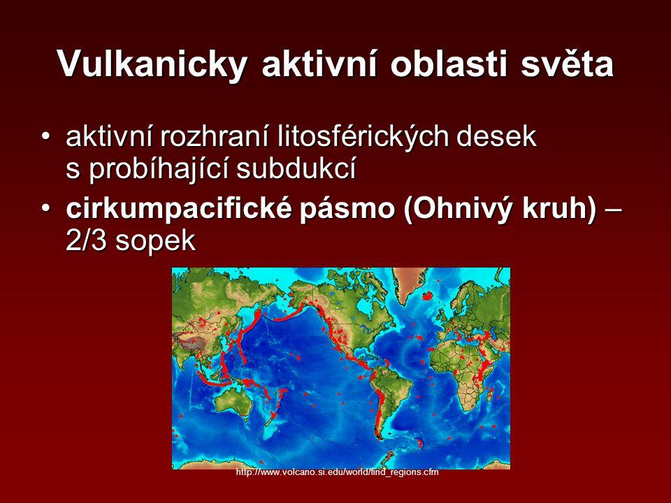 Vulkanicky aktivní oblasti světa aktivní rozhraní litosférických desek s probíhající subdukcíaktivní rozhraní litosférických desek s probíhající subdu