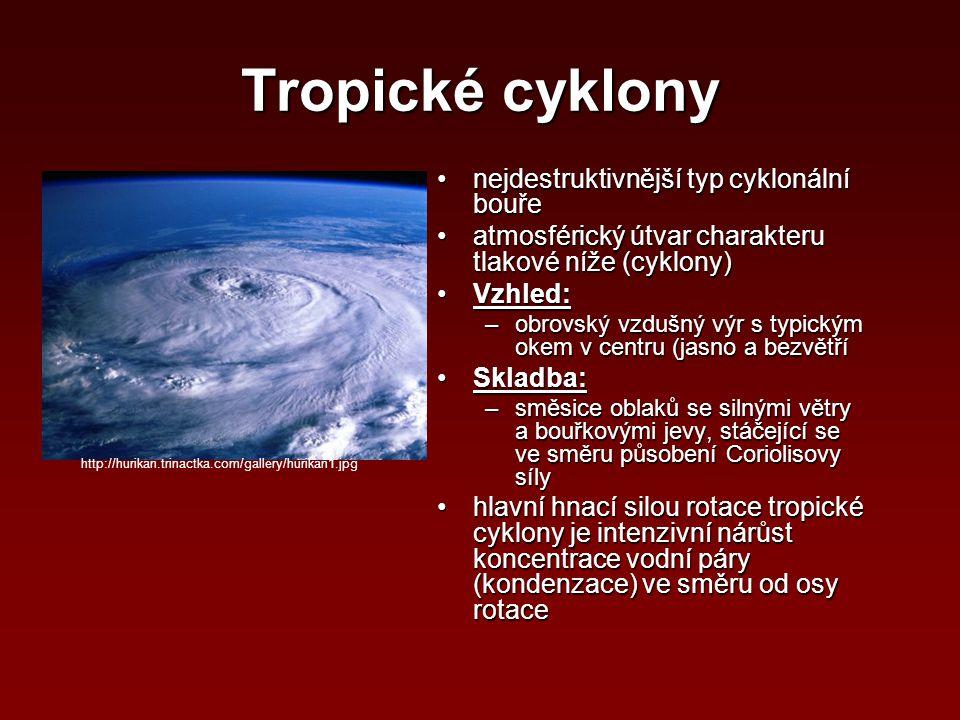 Tropické cyklony nejdestruktivnější typ cyklonální bouřenejdestruktivnější typ cyklonální bouře atmosférický útvar charakteru tlakové níže (cyklony)at