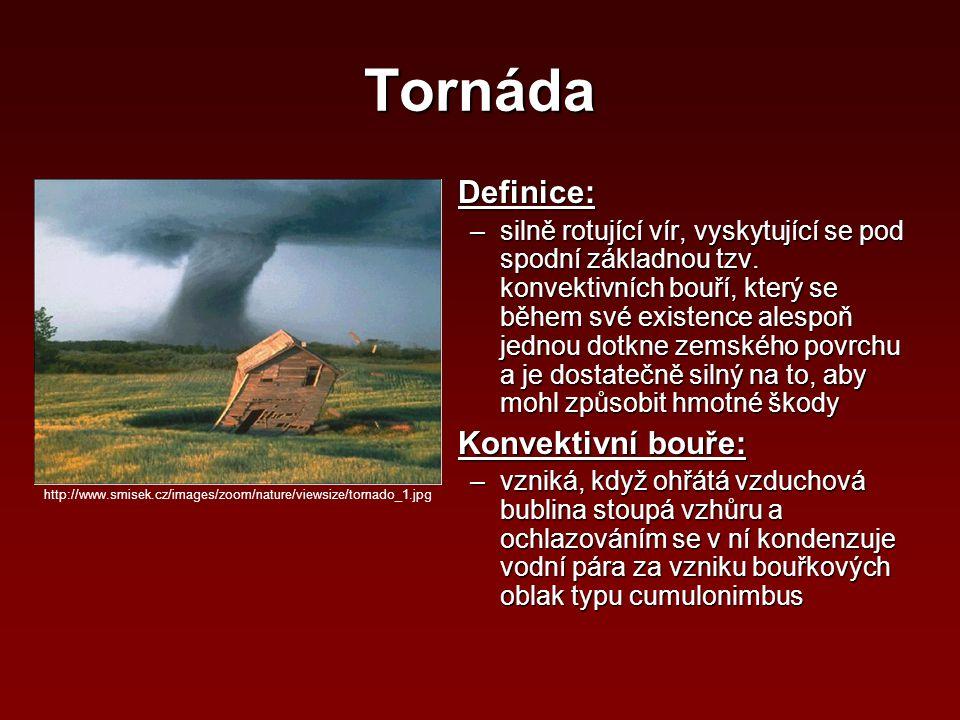 Tornáda Definice:Definice: –silně rotující vír, vyskytující se pod spodní základnou tzv. konvektivních bouří, který se během své existence alespoň jed