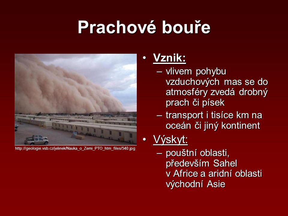 Prachové bouře Vznik:Vznik: –vlivem pohybu vzduchových mas se do atmosféry zvedá drobný prach či písek –transport i tisíce km na oceán či jiný kontine
