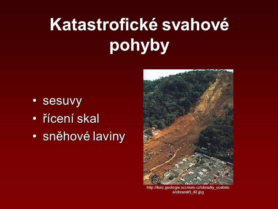 Katastrofické svahové pohyby sesuvysesuvy řícení skalřícení skal sněhové lavinysněhové laviny http://kurz.geologie.sci.muni.cz/obrazky_ucebnic e/obraz
