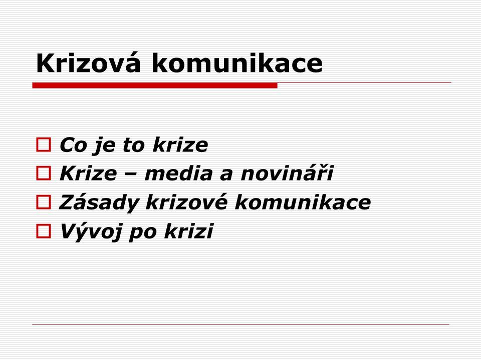 Krizová komunikace  Co je to krize  Krize – media a novináři  Zásady krizové komunikace  Vývoj po krizi