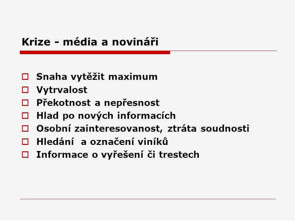 Zásady komunikace v krizi 1.rozdělení rolí zaměstnanců, sběr informací, definice mluvčích 2.identifikace novinářů 3.nenutit k písemným odpovědím 4.pořízení vlastního záznam z jednání 5.nenutit novinářům vlastní názor 6.přesvědčivé a otevřené jednání 7.nežádat o autorizaci 8.nepoužívat nevhodné výrazy 9.poskytovat pravdivé informace 10.pamatovat, že diskuse se zástupci médií je vždy nebezpečná Společnost se musí chovat otevřeně, dát najevo, že chce problém řešit a že nic nezapírá