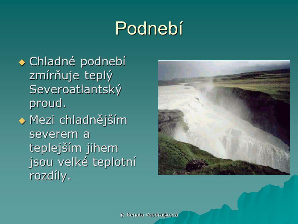 © Renata Vondrášková Vodstvo  Řeky na Islandu jsou prudké, vydatné, s četnými vodopády.