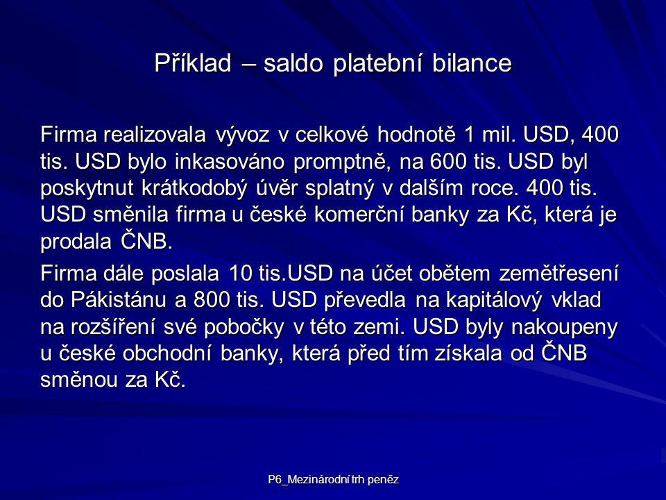 P6_Mezinárodní trh peněz Příklad – saldo platební bilance Firma realizovala vývoz v celkové hodnotě 1 mil. USD, 400 tis. USD bylo inkasováno promptně,