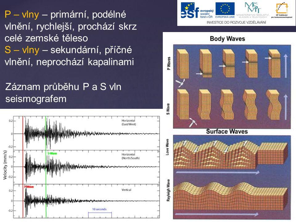P – vlny – primární, podélné vlnění, rychlejší, prochází skrz celé zemské těleso S – vlny – sekundární, příčné vlnění, neprochází kapalinami Záznam pr