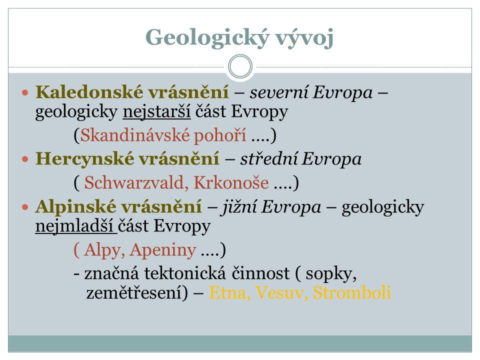 Geologický vývoj Kaledonské vrásnění – severní Evropa – geologicky nejstarší část Evropy (Skandinávské pohoří ….) Hercynské vrásnění – střední Evropa