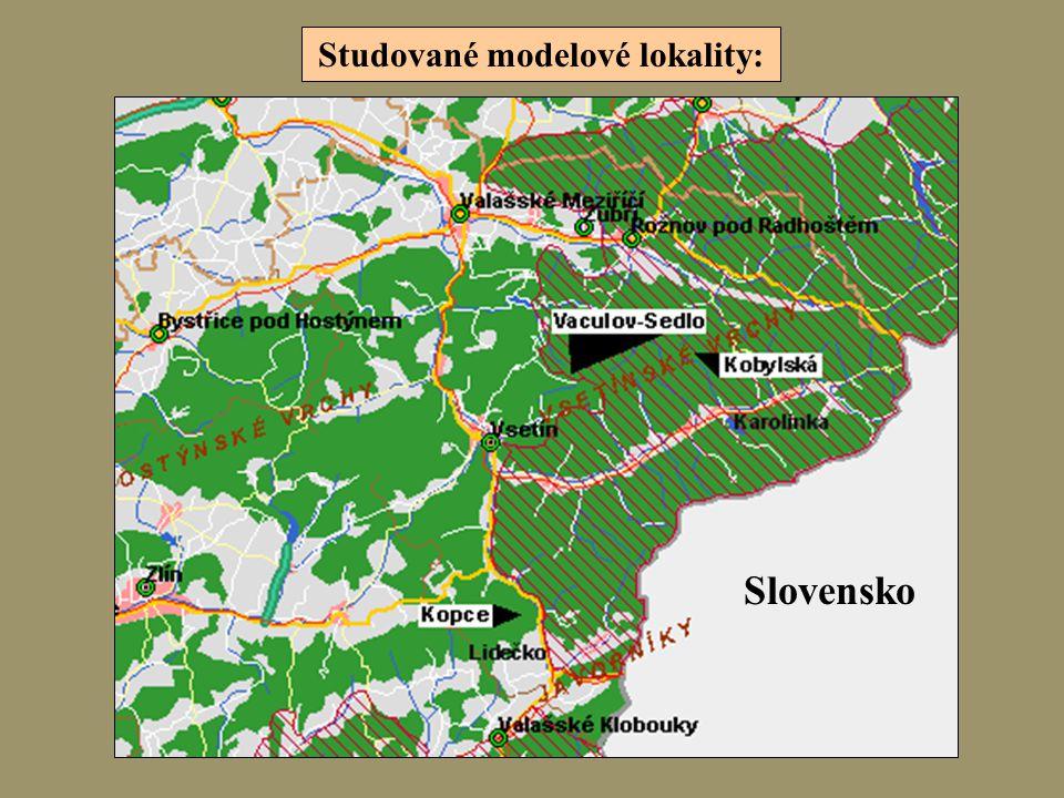 Studované modelové lokality: Slovensko