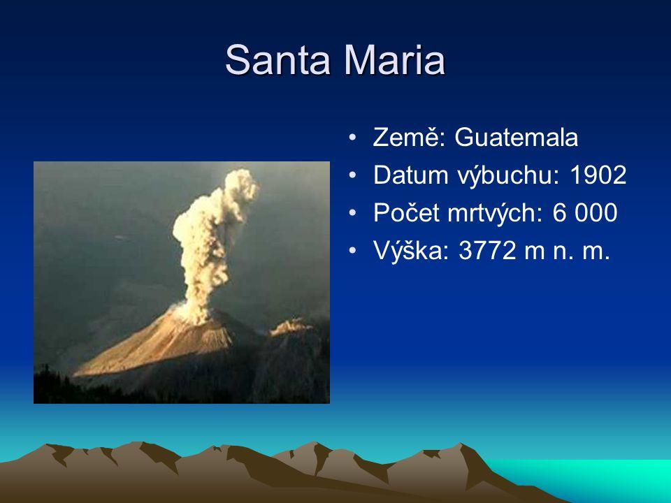 Santa Maria Země: Guatemala Datum výbuchu: 1902 Počet mrtvých: 6 000 Výška: 3772 m n. m.