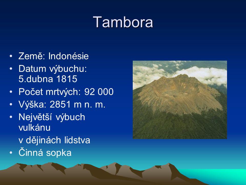 Tambora Země: Indonésie Datum výbuchu: 5.dubna 1815 Počet mrtvých: 92 000 Výška: 2851 m n. m. Největší výbuch vulkánu v dějinách lidstva Činná sopka