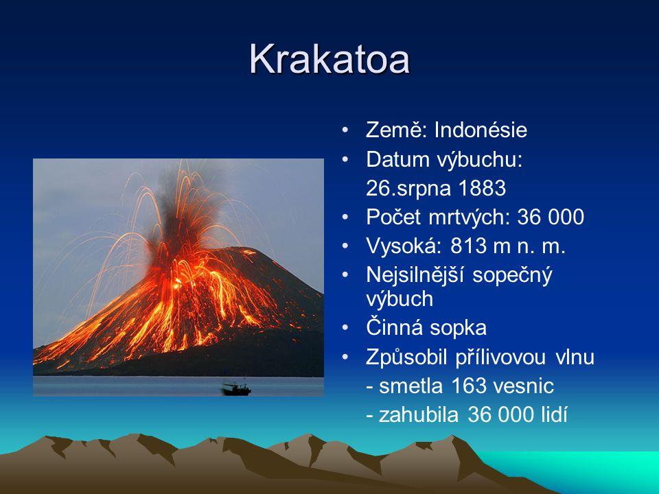 Krakatoa Země: Indonésie Datum výbuchu: 26.srpna 1883 Počet mrtvých: 36 000 Vysoká: 813 m n. m. Nejsilnější sopečný výbuch Činná sopka Způsobil příliv