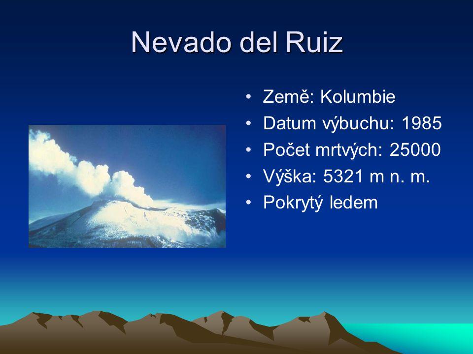 Nevado del Ruiz Země: Kolumbie Datum výbuchu: 1985 Počet mrtvých: 25000 Výška: 5321 m n. m. Pokrytý ledem