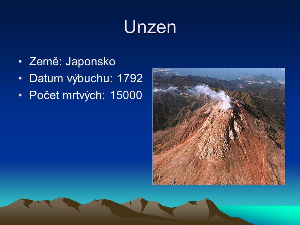 Unzen Země: Japonsko Datum výbuchu: 1792 Počet mrtvých: 15000