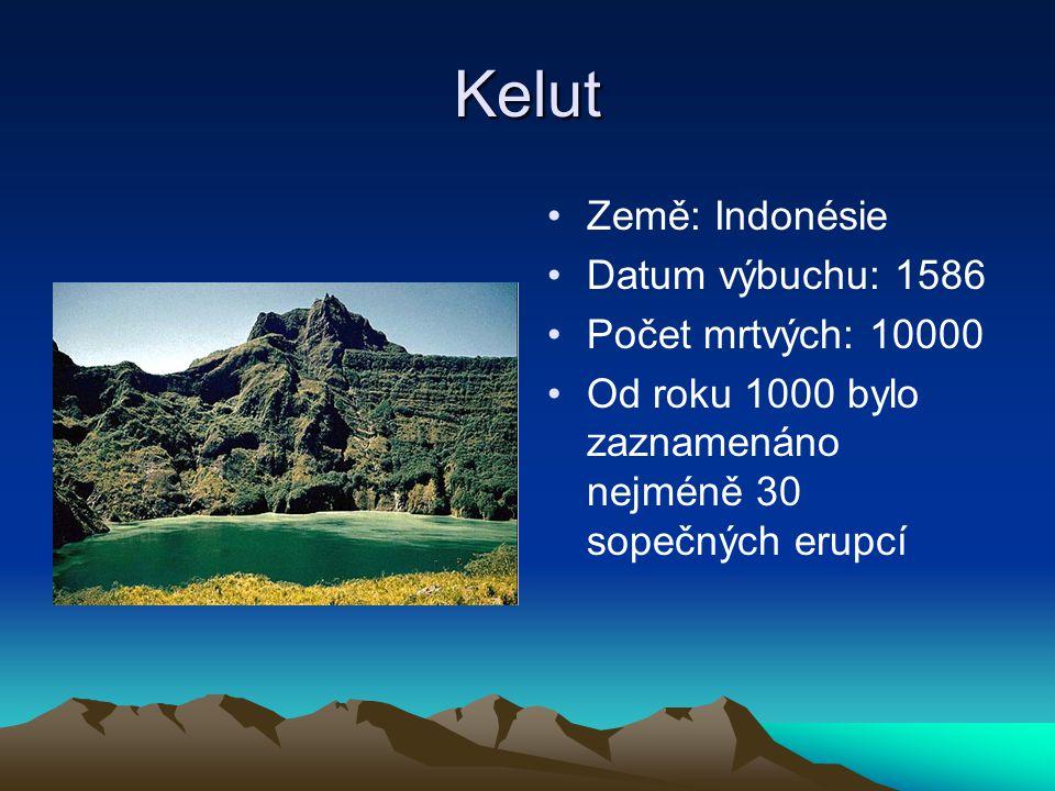 Kelut Země: Indonésie Datum výbuchu: 1586 Počet mrtvých: 10000 Od roku 1000 bylo zaznamenáno nejméně 30 sopečných erupcí