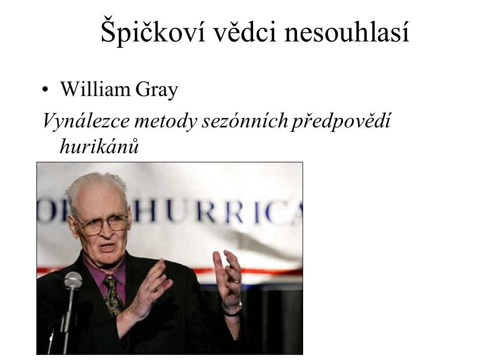 William Gray Vynálezce metody sezónních předpovědí hurikánů Špičkoví vědci nesouhlasí