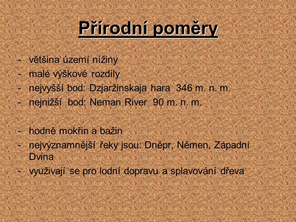 Přírodní poměry -většina území nížiny -malé výškové rozdíly -nejvyšší bod: Dzjaržinskaja hara 346 m. n. m. -nejnižší bod: Neman River 90 m. n. m. -hod