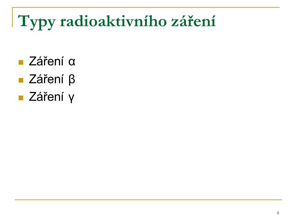 6 Typy radioaktivního záření Záření α Záření β Záření γ
