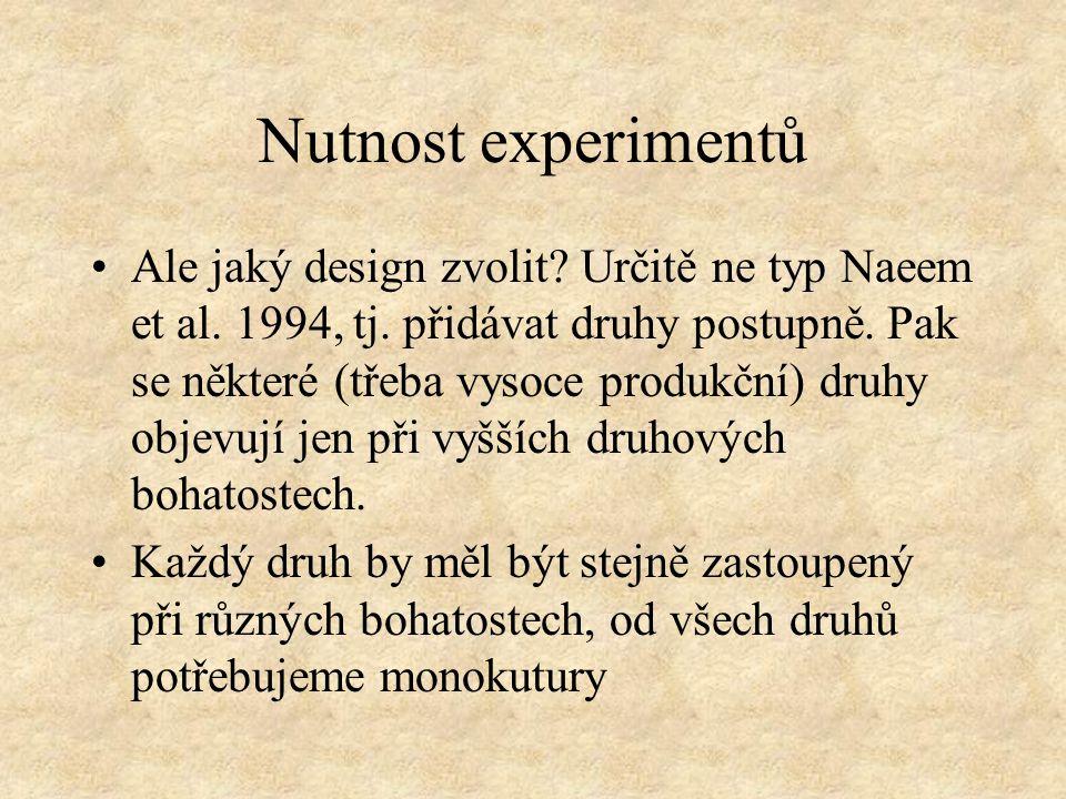 Nutnost experimentů Ale jaký design zvolit. Určitě ne typ Naeem et al.