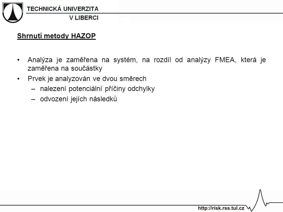 Shrnutí metody HAZOP Analýza je zaměřena na systém, na rozdíl od analýzy FMEA, která je zaměřena na součástky Prvek je analyzován ve dvou směrech –nal