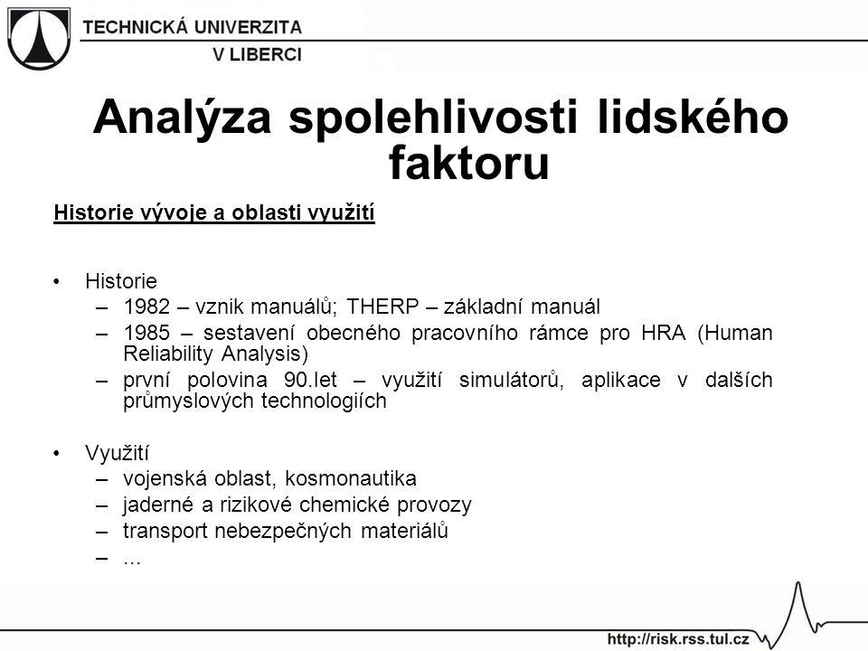 Historie –1982 – vznik manuálů; THERP – základní manuál –1985 – sestavení obecného pracovního rámce pro HRA (Human Reliability Analysis) –první polovi