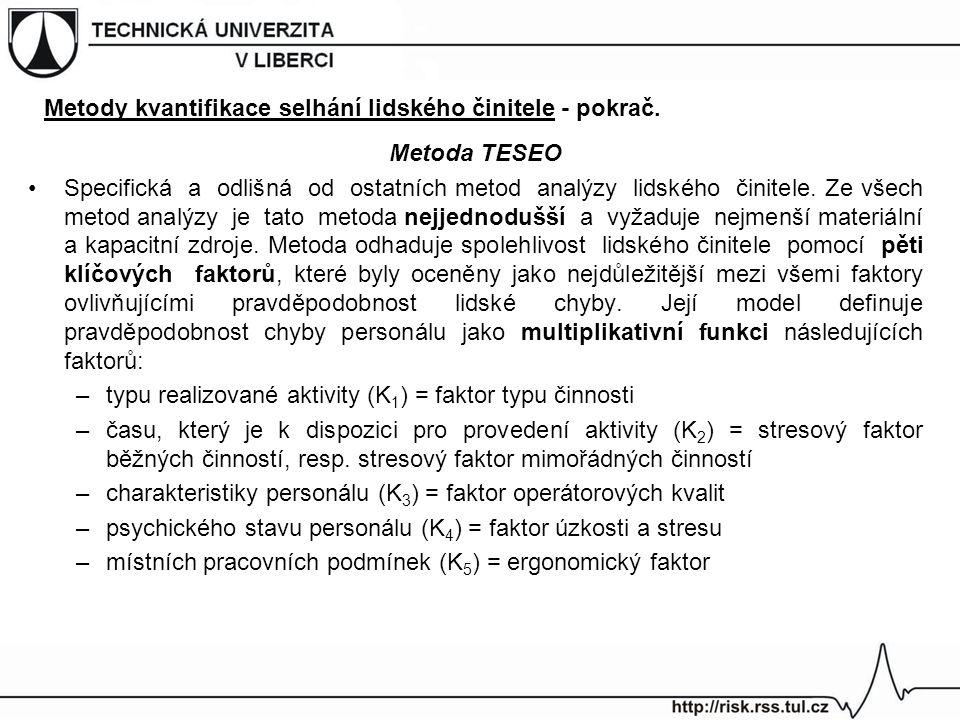 Metoda TESEO Specifická a odlišná od ostatních metod analýzy lidského činitele. Ze všech metod analýzy je tato metoda nejjednodušší a vyžaduje nejmenš