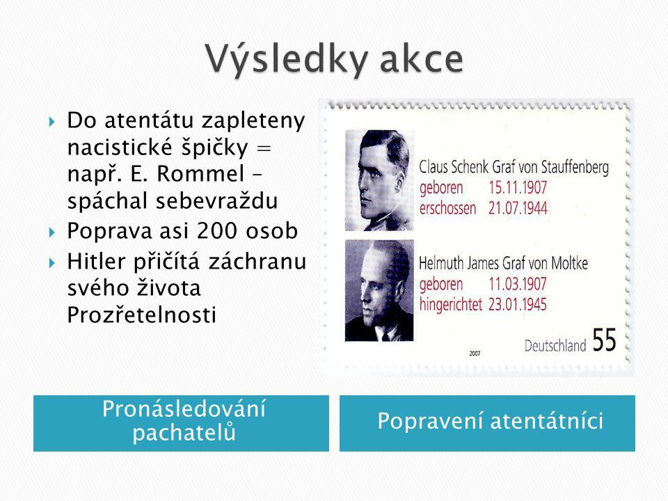 Pronásledování pachatelů Popravení atentátníci  Do atentátu zapleteny nacistické špičky = např.