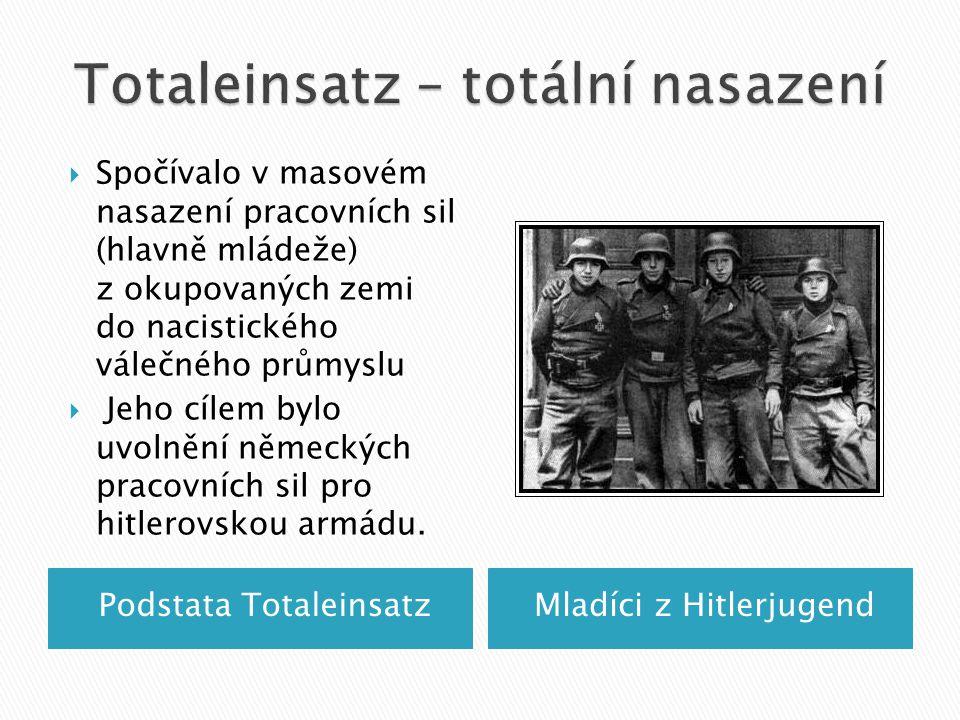 Podstata TotaleinsatzMladíci z Hitlerjugend  Spočívalo v masovém nasazení pracovních sil (hlavně mládeže) z okupovaných zemi do nacistického válečného průmyslu  Jeho cílem bylo uvolnění německých pracovních sil pro hitlerovskou armádu.