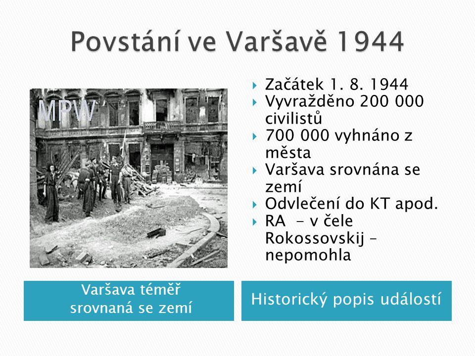 Varšava téměř srovnaná se zemí Historický popis událostí  Začátek 1.