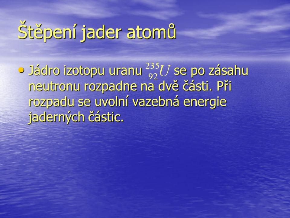 Štěpení jader atomů Jádro izotopu uranu se po zásahu neutronu rozpadne na dvě části. Při rozpadu se uvolní vazebná energie jaderných částic. Jádro izo