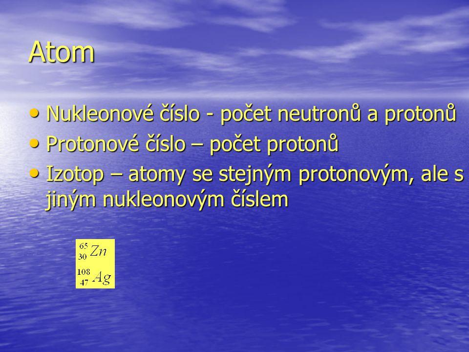 Atom Nukleonové číslo - počet neutronů a protonů Nukleonové číslo - počet neutronů a protonů Protonové číslo – počet protonů Protonové číslo – počet protonů Izotop – atomy se stejným protonovým, ale s jiným nukleonovým číslem Izotop – atomy se stejným protonovým, ale s jiným nukleonovým číslem