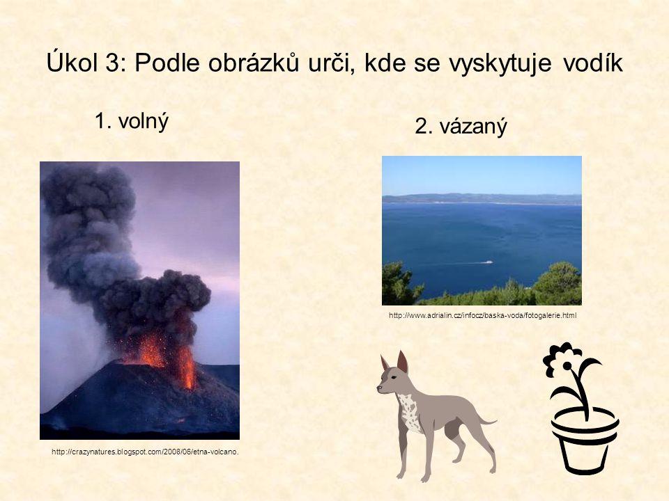 Úkol 3: Podle obrázků urči, kde se vyskytuje vodík 1. volný http://crazynatures.blogspot.com/2008/06/etna-volcano. http://www.adrialin.cz/infocz/baska