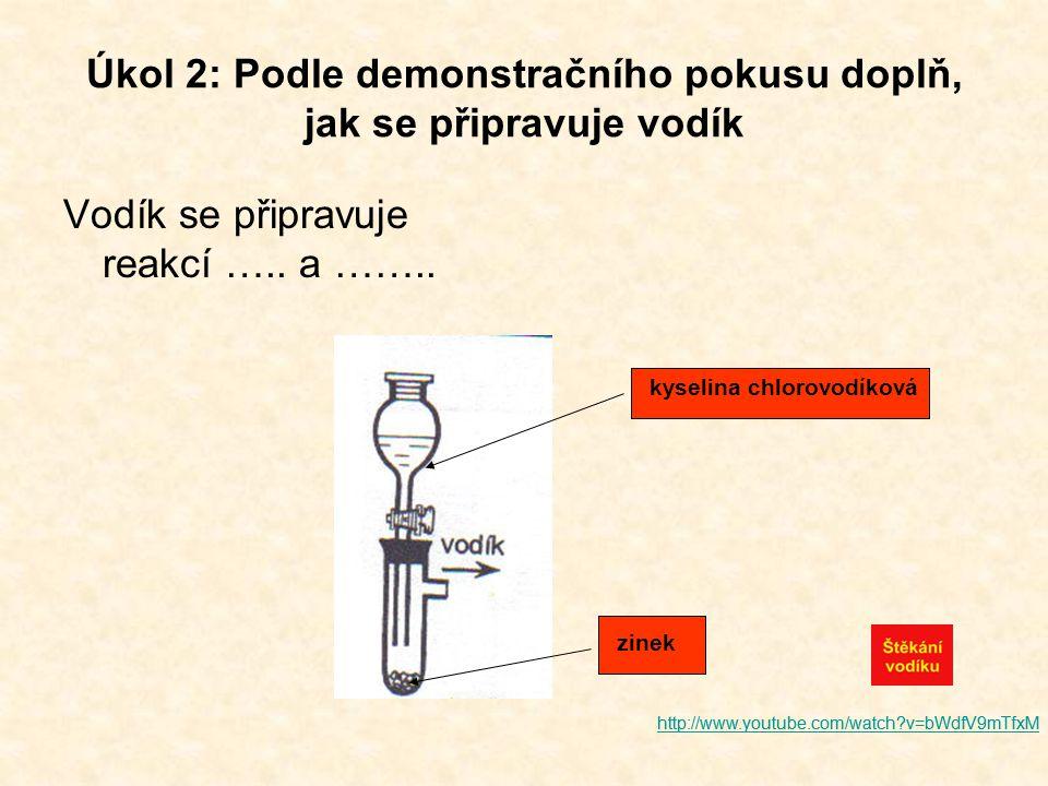 Úkol 2: Podle demonstračního pokusu doplň, jak se připravuje vodík Vodík se připravuje reakcí ….. a …….. kyselina chlorovodíková zinek http://www.yout