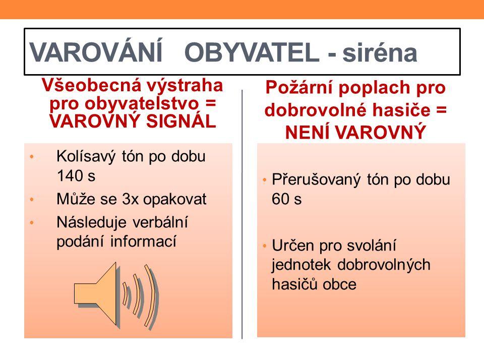 VAROVÁNÍ OBYVATEL - siréna Všeobecná výstraha pro obyvatelstvo = VAROVNÝ SIGNÁL Kolísavý tón po dobu 140 s Může se 3x opakovat Následuje verbální podá