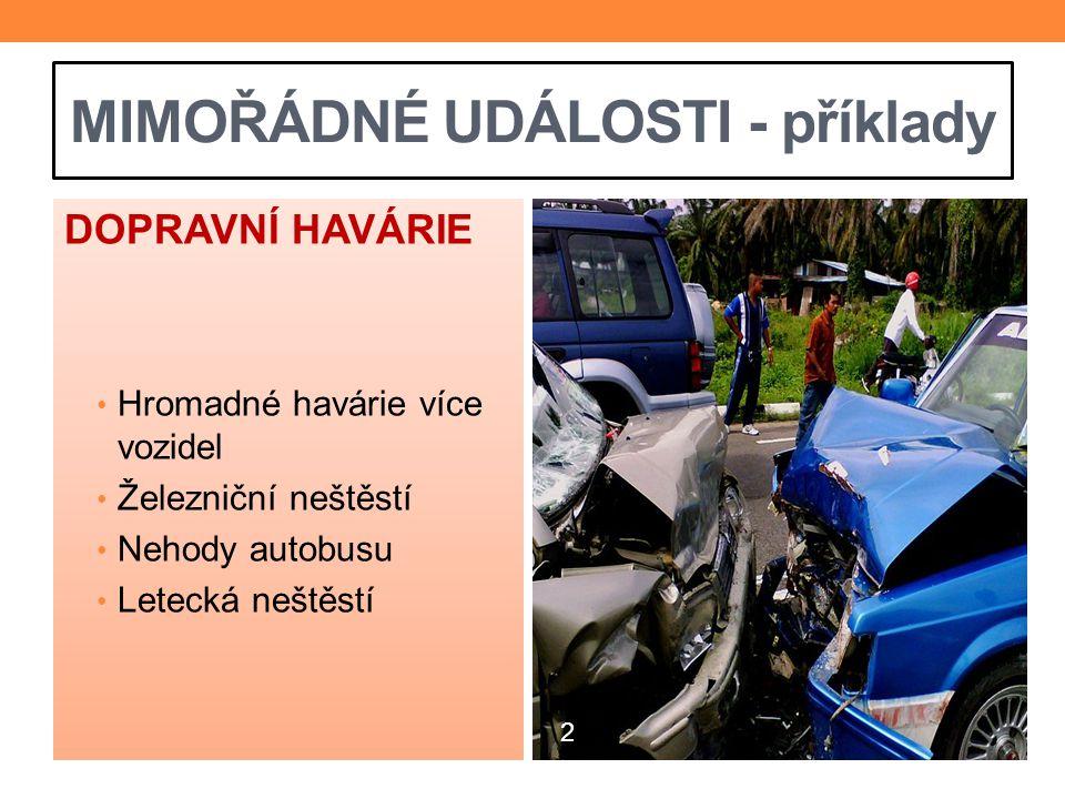 MIMOŘÁDNÉ UDÁLOSTI - příklady DOPRAVNÍ HAVÁRIE Hromadné havárie více vozidel Železniční neštěstí Nehody autobusu Letecká neštěstí 2