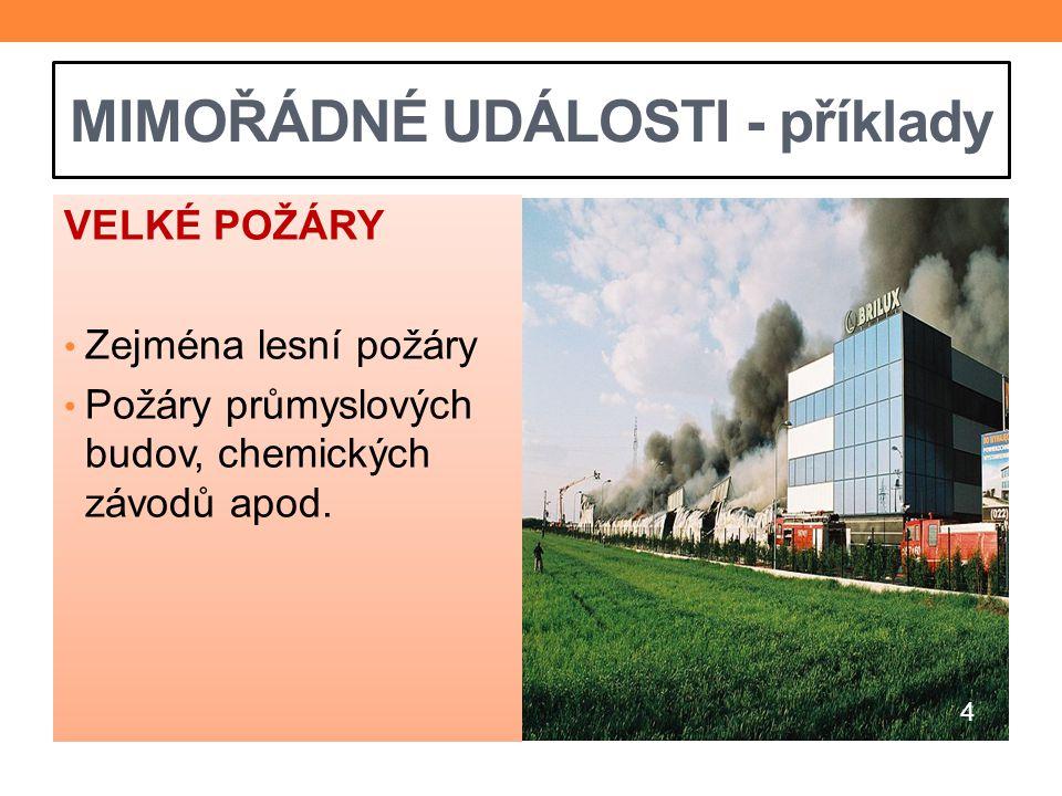 MIMOŘÁDNÉ UDÁLOSTI - příklady VELKÉ POŽÁRY Zejména lesní požáry Požáry průmyslových budov, chemických závodů apod. 4