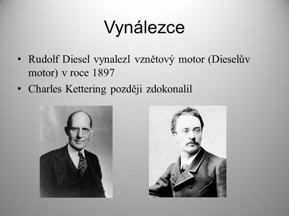 Vynálezce Rudolf Diesel vynalezl vznětový motor (Dieselův motor) v roce 1897 Charles Kettering později zdokonalil