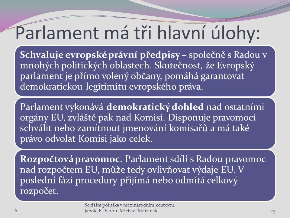 Parlament má tři hlavní úlohy: Schvaluje evropské právní předpisy – společně s Radou v mnohých politických oblastech.
