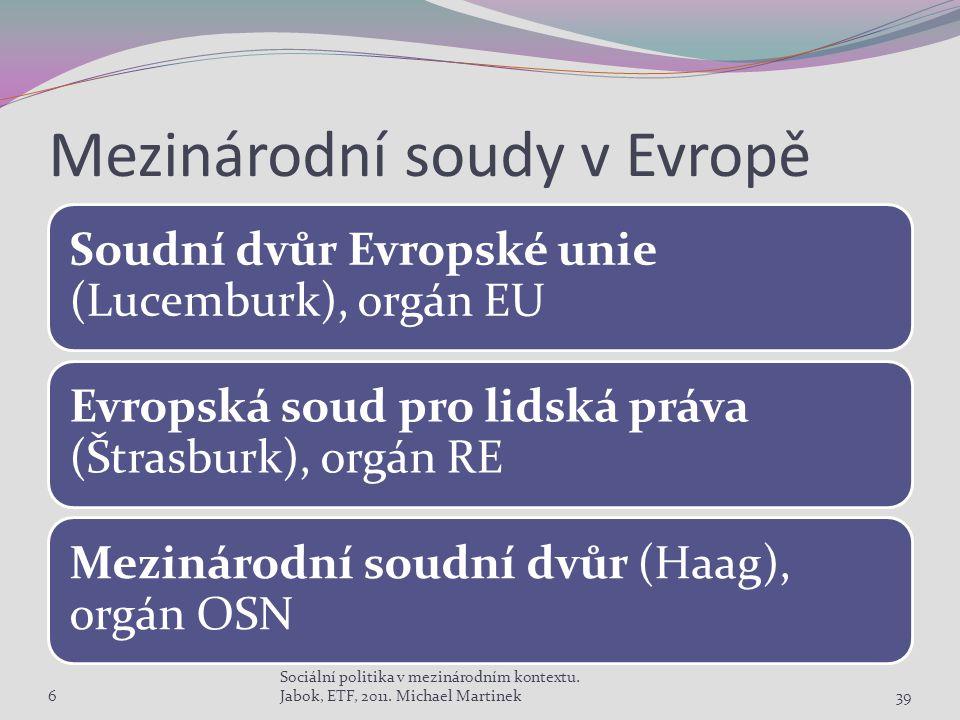 Mezinárodní soudy v Evropě Soudní dvůr Evropské unie (Lucemburk), orgán EU Evropská soud pro lidská práva (Štrasburk), orgán RE Mezinárodní soudní dvůr (Haag), orgán OSN 6 Sociální politika v mezinárodním kontextu.