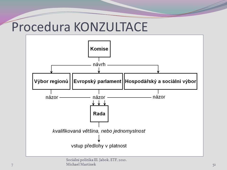 Procedura KONZULTACE 7 Sociální politika III. Jabok, ETF, 2010. Michael Martinek51