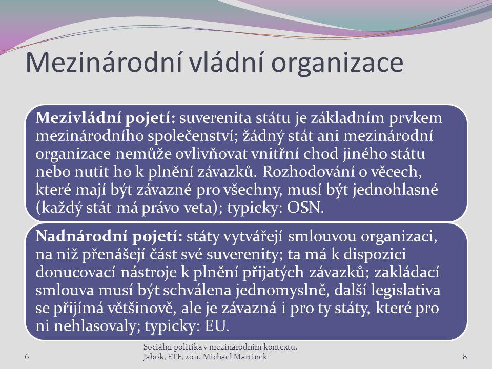 Mezinárodní vládní organizace Mezivládní pojetí: suverenita státu je základním prvkem mezinárodního společenství; žádný stát ani mezinárodní organizace nemůže ovlivňovat vnitřní chod jiného státu nebo nutit ho k plnění závazků.