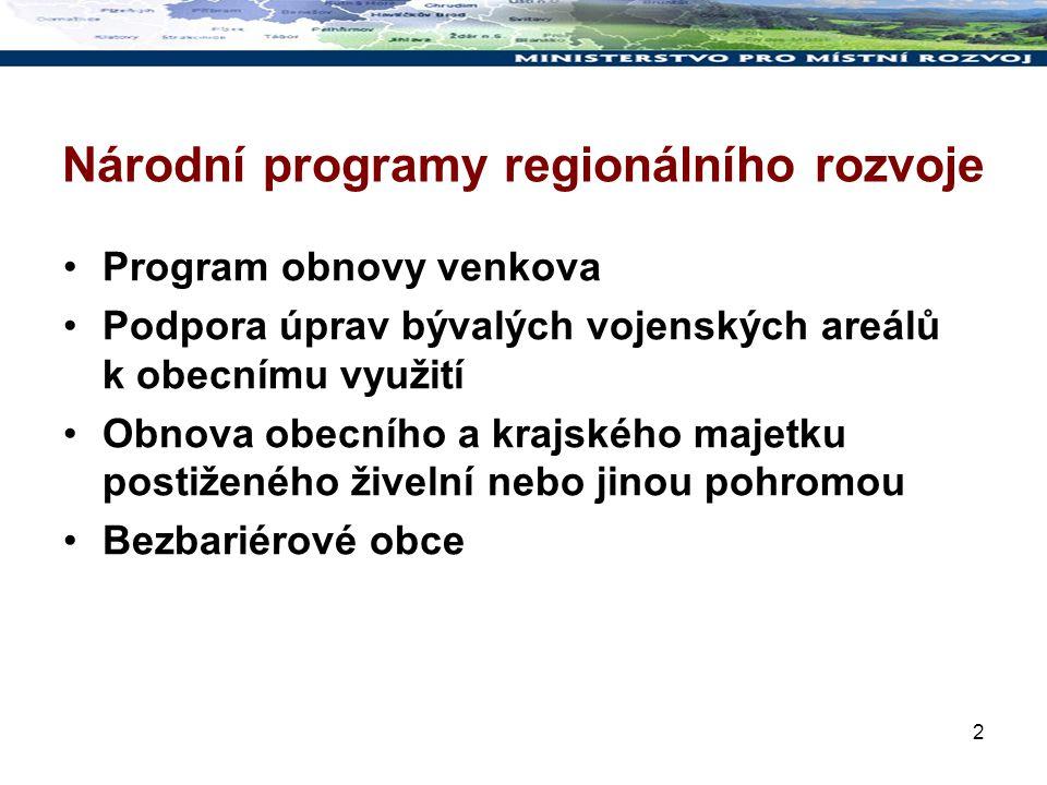 3 Národní programy v roce 2009 Program obnovy venkova Dotační tituly: č.