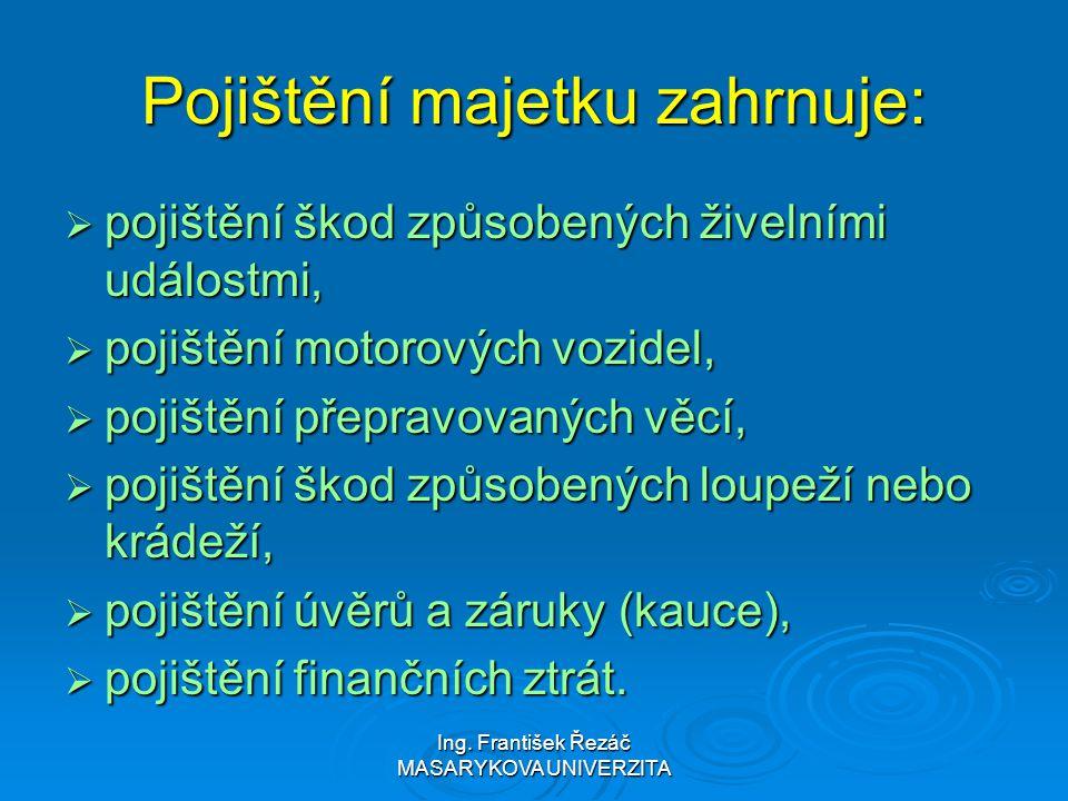 Ing. František Řezáč MASARYKOVA UNIVERZITA Pojištění majetku zahrnuje:  pojištění škod způsobených živelními událostmi,  pojištění motorových vozide