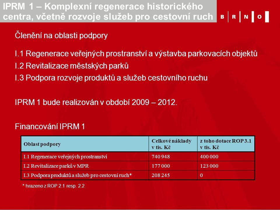 Členění na oblasti podpory I.1 Regenerace veřejných prostranství a výstavba parkovacích objektů I.2 Revitalizace městských parků I.3 Podpora rozvoje p