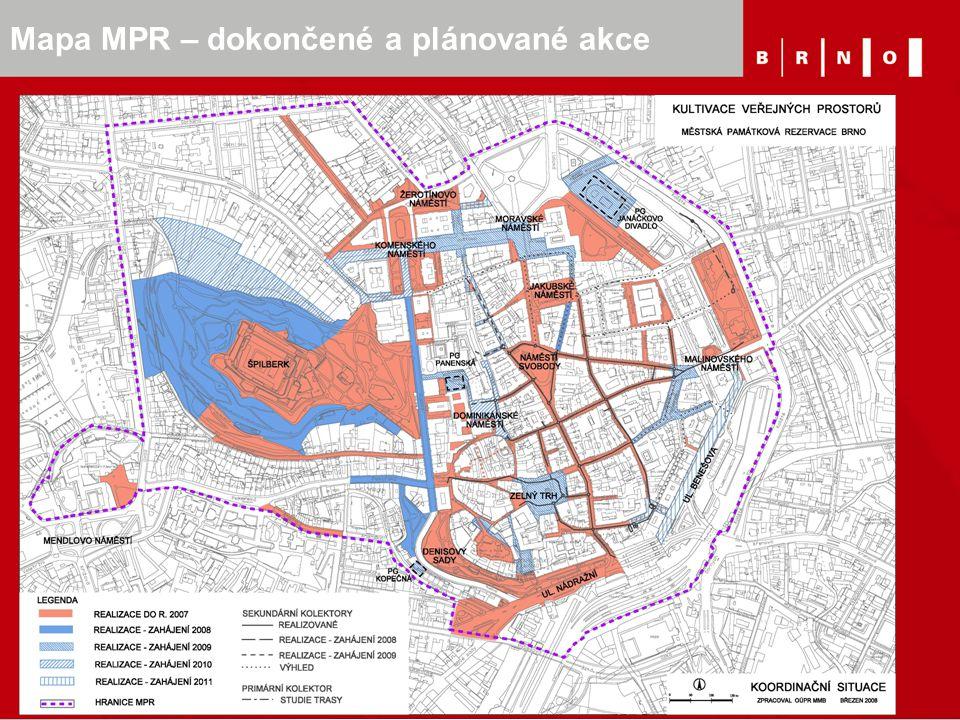 Mapa MPR – dokončené a plánované akce