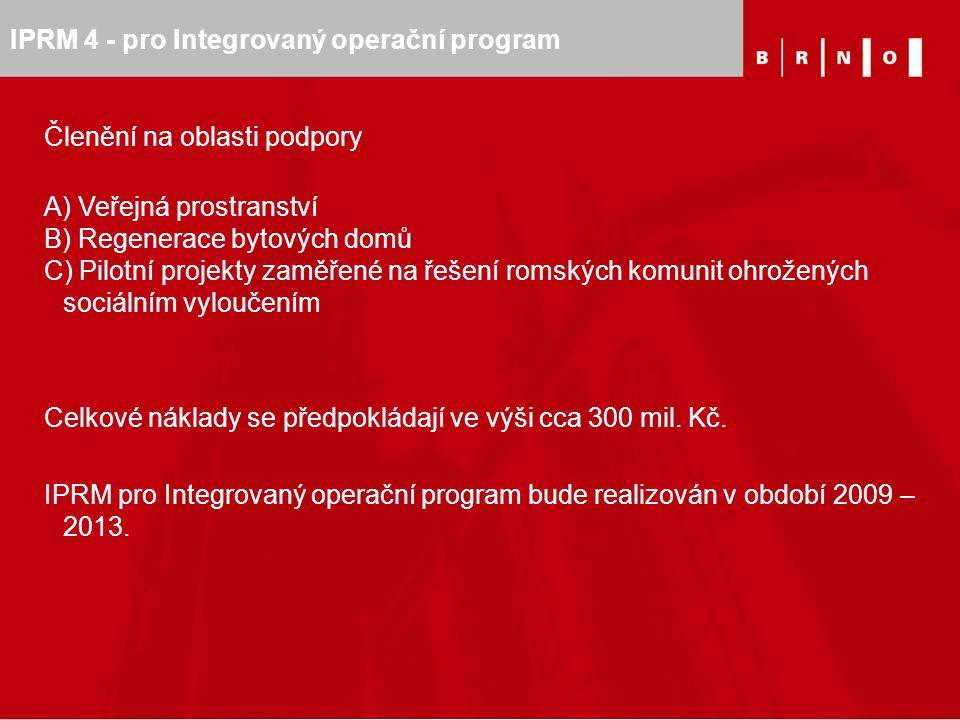 IPRM 4 - pro Integrovaný operační program Členění na oblasti podpory A) Veřejná prostranství B) Regenerace bytových domů C) Pilotní projekty zaměřené