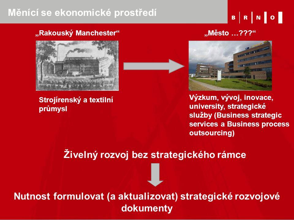 """Měnící se ekonomické prostředí """"Rakouský Manchester"""" """"Město …???"""" Živelný rozvoj bez strategického rámce Nutnost formulovat (a aktualizovat) strategic"""